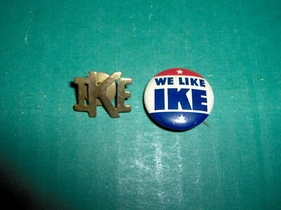 Tin WE LIKE IKE Presidential Campaign Button Badge + Brass Lapel Pin Eisenhower
