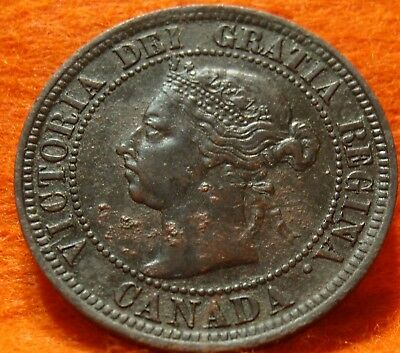 1891 XF High Grade CANADA LARGE CENT Victoria COIN NoRes CANADIAN