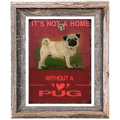 PUG DOG distressed Art Print 8 x 10 image home office wall decor