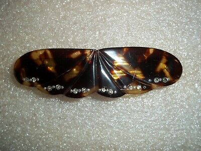Vintage MADE IN FRANCE Faux Tortoise Shell and Rhinestone Hair Clip