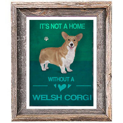 WELSH CORGI DOG distressed Art Print 8 x 10 image home office wall decor