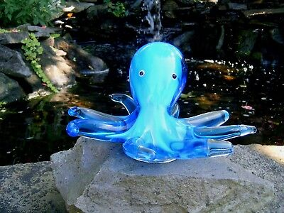 "Murano ? Art Glass Octopus 7"" Diameter Clear/blue/ Cobalt Blue *free Shipping*"