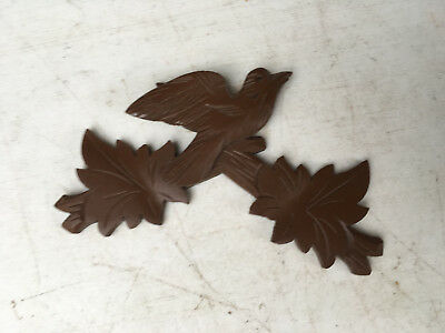 Vintage Small Brown Cuckoo Clock Crest for Parts / Repair  CC19