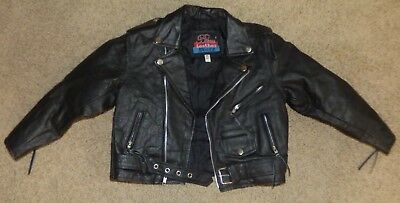Vtg Childs Bikers Leather Stuff Motorcycle Jacket w/Zippers & Harley Style Patch