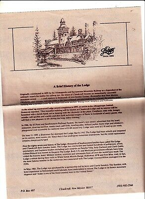 The Lodge The Resort of Cloudcroft New Mexico Brief History Sheet Vintage
