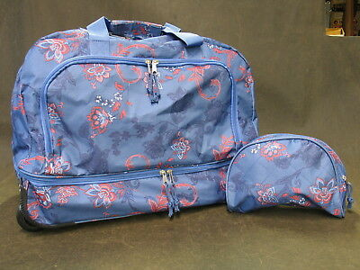 Duffle Bag Trolley Tote Wheeled Carry On Rolling Travel Suitcase W Toiletry Bag