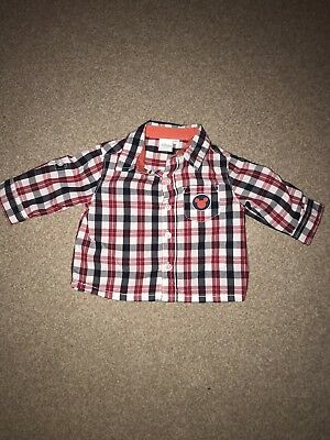 0-3 Month Baby Boy Disney Mickey Mouse Red Check Shirt Smart Casual - NEVER WORN