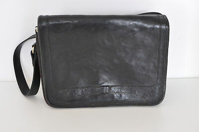 Vintage Italian Black Real Thick Leather Small Rectangle Shoulder Hand Bag Smart