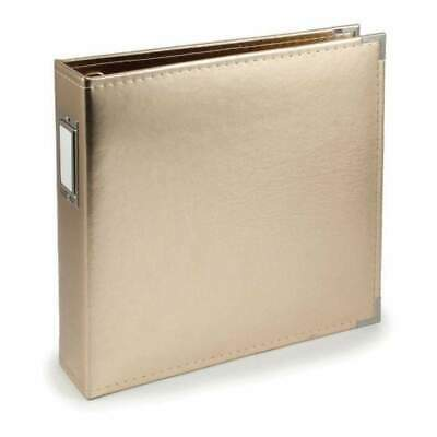NEW We R Faux Leather 3-Ring Binder 12 inch X12 inch Gold
