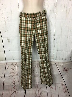 "Vtg. Plaid Bell Bottom Pants Brady Bunch 60's 25"" X 28"""