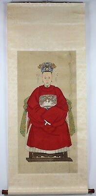 Old Chinese Watercolor On Paper Scrolls Of Ancestor Portrait