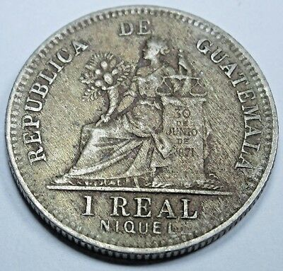 Guatemala 1900 1 Real Antique Un Reales Guatemalan Collection Coin Money