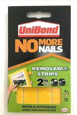 Unibond No More Nails removable strips. Double sided adhesive mounting strips