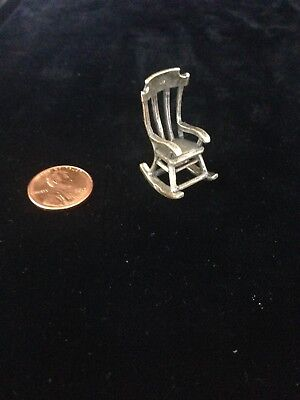Miniature Dutch Silver .835 Rocking Chair from Netherlands Private Collection.