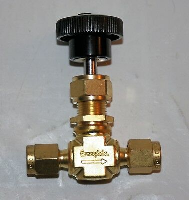 "1/8"" OD Tube Brass Needle Valve (3000 Psi) Swagelok B-ORS2"