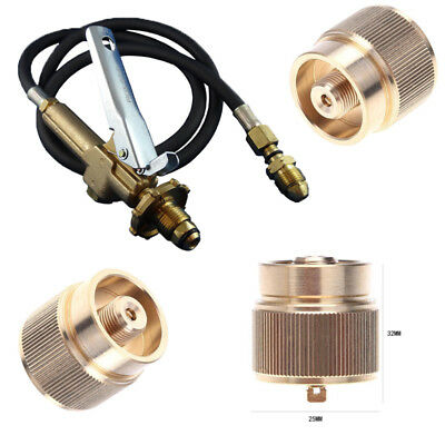 LPG Adapter Camping Cook Propane Small Tank Input Lindal Valve Output Connector