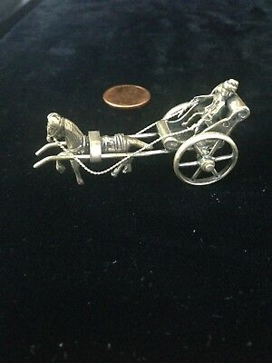 Miniature Dutch Silver Horse and Buggy.
