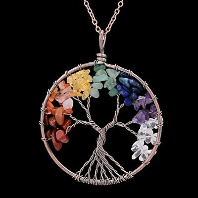 Sedmart Tree of life pendant Amethyst Rose Crystal Necklace Gemstone
