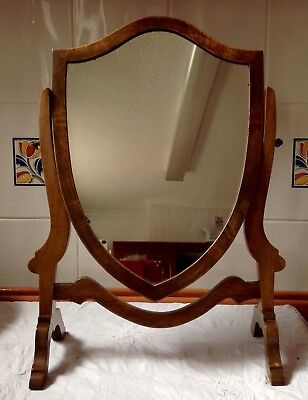 Antique Mid 19th Century c1850, Dressing Mirror In Walnut Skeleton Frame.