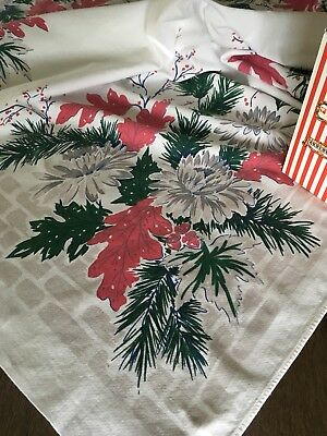 Vintage Mid Century Red, Green & Gray Winter Printed Cotton Tablecloth