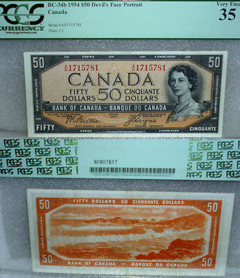 World Famous Devils Face  .1954 Bank Of Canada $50  (Read The Story)