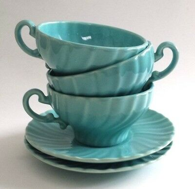 Vtg 1940s Glacial Blue Swirl Glossy GMB Fransican Coronado 3 Cups & 2 Saucers