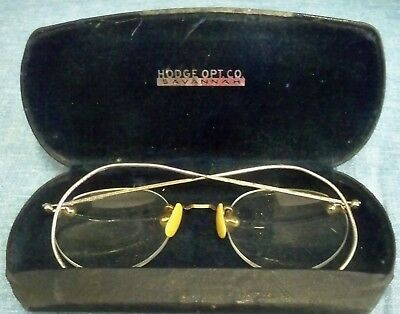 Antique Eyeglasses in Original Case Spectacles Hodge Opt Co Savannah Early 1900s
