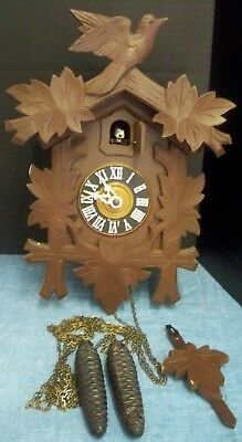 Vintage German Cuckoo Clock Bird Leaves Complete Black Forest Wood Germany Works