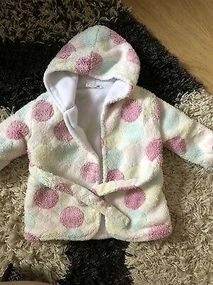 Baby Girls 0-6 Months Pink Spotted Dressing Gown