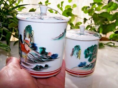 Vtg set of 2 Hand Painted Japanese Covered Sake Tea Cups,scenery, red mark