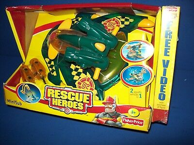 Rescue Heroes MINISUB with VHS playset fisher-price New HTF 78438