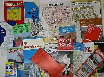 Lot of Vintage Tourist Maps Germany Sydney Tokyo Switzerland Hong Kong 1980's