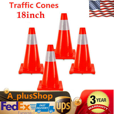 "4pcs 18"" Road Traffic Cones Fluorescent Reflective Road Safety Parking Cones USA"