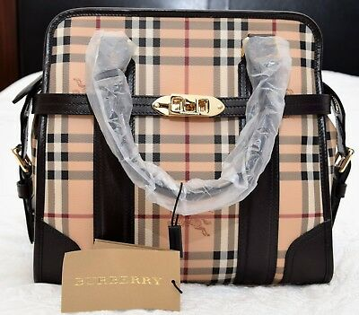 d617d6278f84 NWT  1495 Burberry Italy Medium Minford Beige Brown Check Haymarket Tote Bag