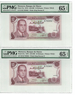 MOROCCO Set of 2 notes x 10 Dirhams 1970 PICK# 57a PMG - 65 EPQ.(#1365)