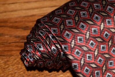 Men's Jos. A. Bank Executive Collection 100% Silk Red Geometric Neck Tie