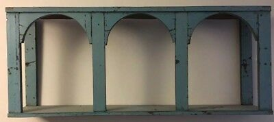 Antique/Vintage Indian Rajasthani  Painted Turquoise Colonnade wooden Shelf