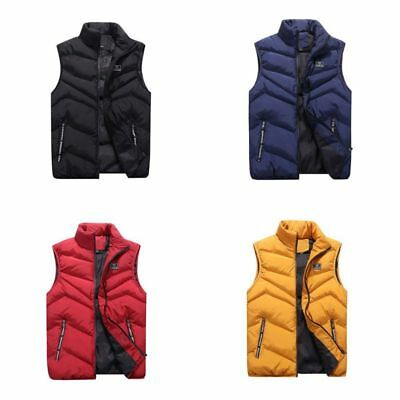 New Men's Warm Puffy Puffer Sleeveless Jacket Winter Thick Vest Quilted Jacket