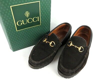 318e19dd8 100% Auth GUCCI Horsebit Suede Leather Loafers Shoes Black Made In Italy 35  1/