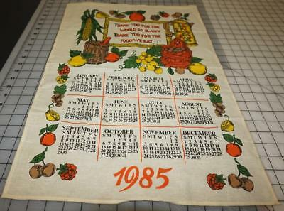 Vintage linen dishcloth towel calendar 1985 Thank You For The World