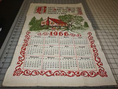 Vintage linen dishcloth towel calendar 1966 Bless This House Oh Lord