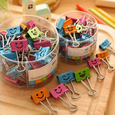 10pcs Cute Smile Metal Binder Clip Notes Letter Paper Books Office School Make