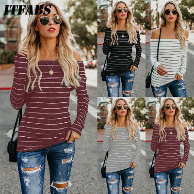 Warm Winter Off Shoulder Sweater Women Pullover Knitted Top Soft Elasticity US