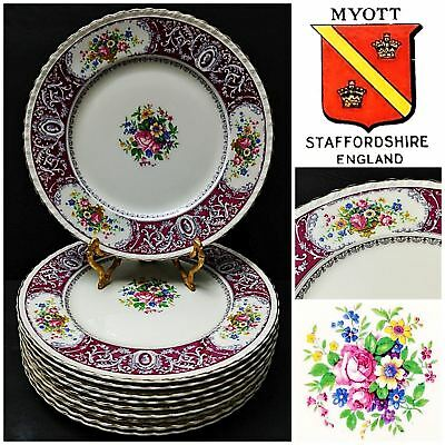 10 Pcs Vintage Myott Staffordshire Canterbury Dinner Plate w/Gold Trim, 10.75""