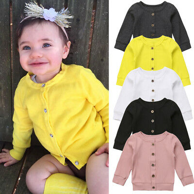 UK Stock Newborn Infant Baby Girl Knitted Sweater Cardigan Coat Casual Top 0-24M