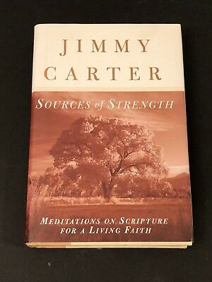Jimmy Carter President Nobel Prize Sources of Strength Signed Autograph Book COA