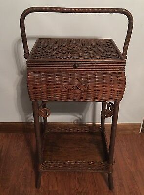 Antique Heywood Wakefield Sewing Stand Basket