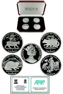 ISLE OF MAN 1997 HISTORY OF THE CAT SILVER PROOF SET Very Rare!