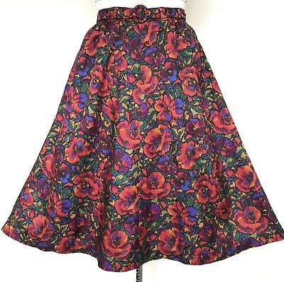 Vintage 1990s Red Blue Purple Green Belted A-line Skirt M