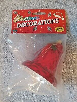 vintage large big bell red plastic christmas decoration new in package - Large Plastic Christmas Bell Decorations